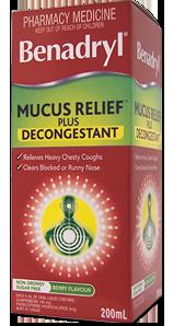 BENADRYL® Mucus Relief™ Plus Decongestant Cough Liquid