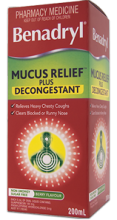 BENADRYL® Mucus Relief™ Plus Decongestant Cough Liquid